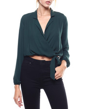 Fashion Lab - Collared Surplus Side Tie L/S Blouse-2273680