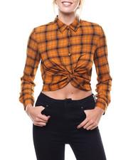 Polos & Button-Downs - Plaid Twist Front Crop Shirt-2273684