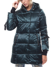 Womens-Winter - Nylon Hooded Grosgrain Trim Puffer-2276855