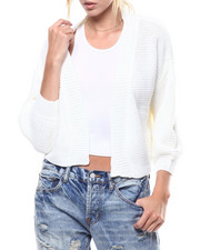 Fashion Lab - Puff Sleeve Cropped Open Cardigan-2275891