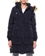Outerwear - Quilted Side Zip Bubble Faux Fur Trim Jacket-2276815