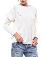 Sweaters - L/S Knit Ruffle Sleeve Sweater-2275936