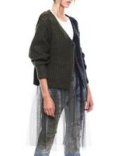 Sweaters - 2Tone Tulle Bottom Cardigan-2273696