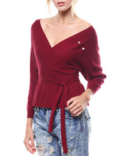 Sweaters - Pearl Trim Self Belted Surplice Sweater-2275900