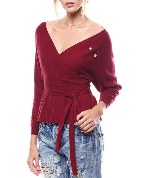 Fashion Lab - Pearl Trim Self Belted Surplice Sweater