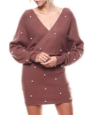 Fashion Lab - Pearl Accent Wrap Front L/S Dress-2276427