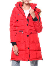Womens-Winter - Quilted Side Zip Bubble Faux Fur Trim Jacket-2276767