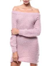 Womens-Holiday - Eyelash Off Shoulder L/S Mini Dress-2275843