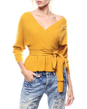 Women - Pearl Trim Self Belted Surplice Sweater-2275904