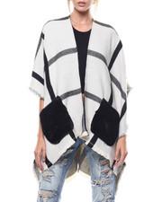 Women - Plaid Faux Fur Pocket Ruana-2275768