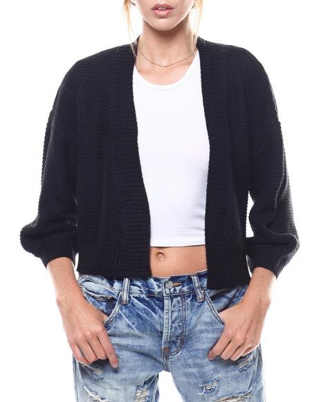 Fashion Lab - Puff Sleeve Cropped Open Cardigan