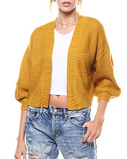 Sweaters - Puff Sleeve Cropped Open Cardigan-2275887