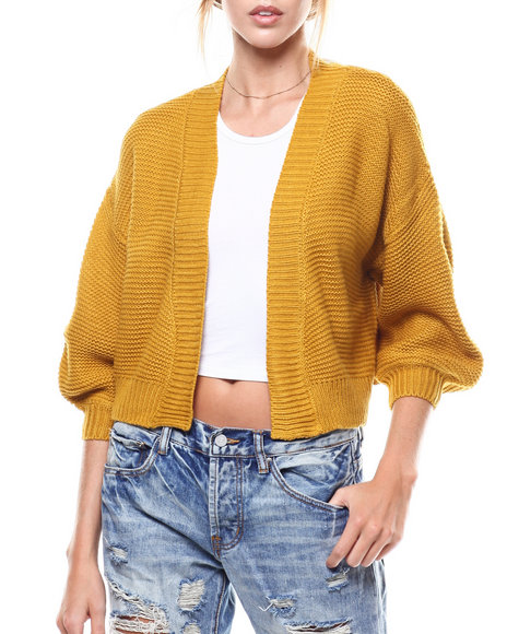 Fashion Lab - Puff Sleeve Cropped Open Cardigan