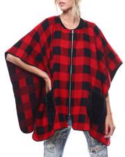 Fashion Lab - Zip Up Plaid Ruana Faux Fur Pockets-2275767