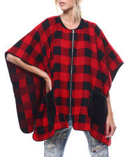 Women - Zip Up Plaid Ruana Faux Fur Pockets-2275767