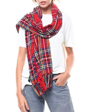 Women - Plaid Chenille Blanket Scarf-2275832