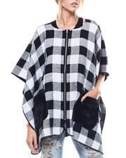 Fashion Lab - Zip Up Plaid Ruana Faux Fur Pockets-2275761