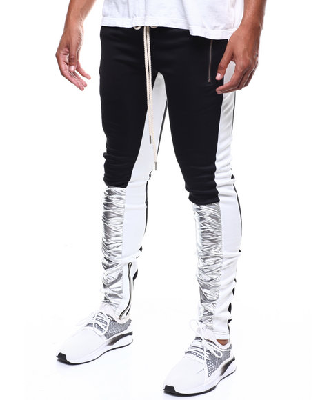 SMOKE RISE - METALLIC SILVER COLORBLOCK  TRACKPANT
