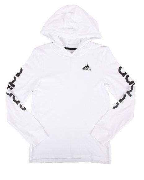 Adidas - Branded Linear Sleeve Hooded Tee (8-20)