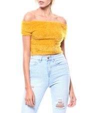 Womens-Party-Looks - Eyelash Off Shoulder S/S Crop Sweater-2275798