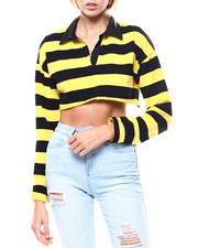Fashion Lab - L/S Stripe Polo Crop Top-2276246