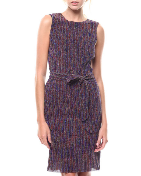 Fashion Lab - Stripe S/L Slit Hem Belted Dress