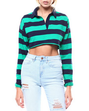 Fashion Lab - L/S Stripe Polo Crop Top-2276268