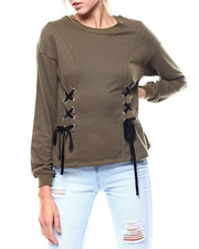 Fashion Lab - Lace-up Front French Terry Pullover-2275861