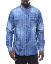 Shirts - WINDOWPANE PLAID DENIM SHIRT W PAINT SPLATTER-2278254