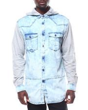 Shirts - DENIM SHIRT W FLEECE HOOD AND SLEEVES-2278342