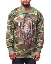 T-Shirts - Rasta Lion W/Headphone L/S Crew Neck  (B&T)-2278743
