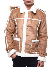 Light Jackets - SHEARLING JACKET W/ FUR HOODIE-2279165