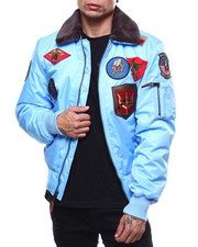 Men - All over Patches BOMBER JACKET W/FAUX FUR COLLAR-2279098