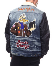 Denim Jackets - Bombs Away Jacket w Shearling Collar-2279209