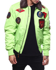 Light Jackets - All over Patches BOMBER JACKET W/FAUX FUR COLLAR-2279124
