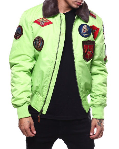 Top Gun - All over Patches BOMBER JACKET W/FAUX FUR COLLAR
