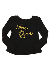 Tops - Long Sleeve Glitter Tee (7-16)-2278532