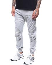 Sweatpants - zip knee distressed fleece jogger-2277788