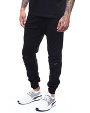 Sweatpants - zip knee distressed fleece jogger-2277799