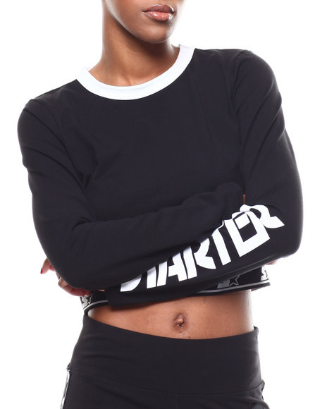 Starter - Cropped L/S Fitted Crew Neck Top