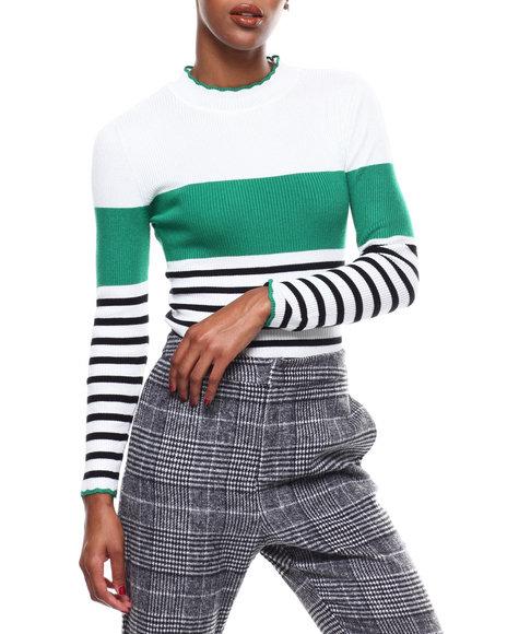 Fashion Lab - Stripe Color Block Mock Neck L/S Sweater