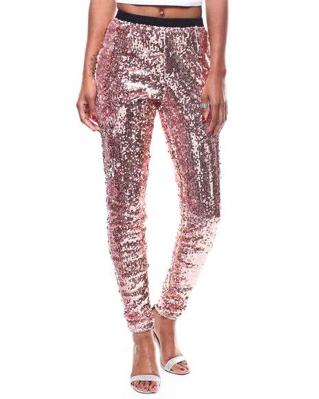 Fashion Lab - Hi-Waisted Elastic Waistband Sequin Pant