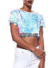 Fashion Lab - S/L Sequin Crop Top-2279366