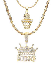 Accessories - 2 Piece Basketball King Necklace Set-2279911