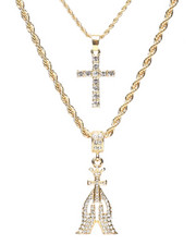 Accessories - 2 Piece Praying Hands/Cross Necklace Set-2279910