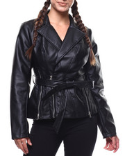 Womens-Winter - Zip Detail Oversized Belted Moto Jacket-2280729