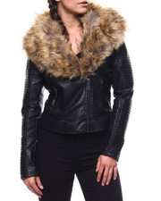 Fashion Lab - Biker Faux Leather Jacket/Faux Fur-2280845