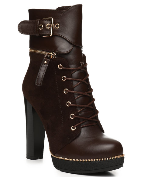 Fashion Lab - Chunky Heel Lace Up Bootie