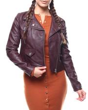 Outerwear - Faux Leather Moto Jacket-2279316