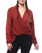 Fashion Lab - L/S Lapel Collar Surplice Blouse-2279354